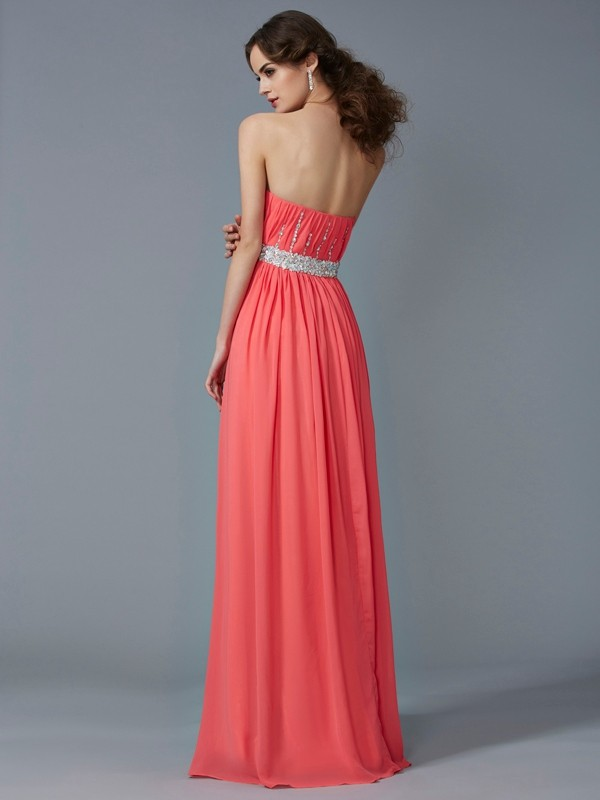 Stylish A-Line Strapless Sleeveless Long Chiffon Dress