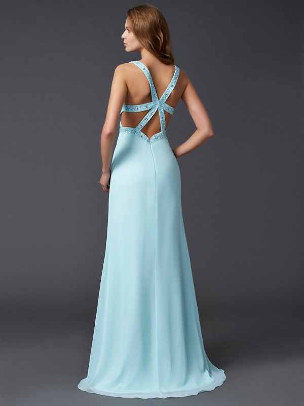 Stylish Sheath V-neck Sleeveless Long Chiffon Dress