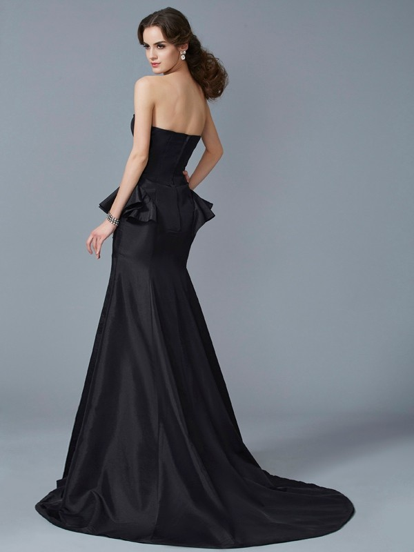 Stylish Mermaid Strapless Sleeveless Long Taffeta Dress