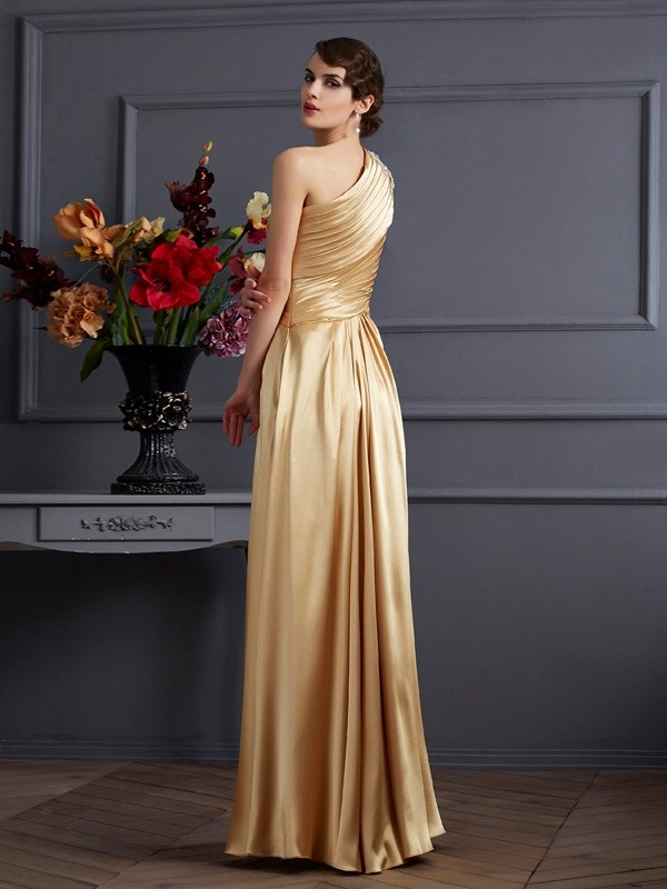 Stylish A-Line One-Shoulder Sleeveless Long Elastic Woven Satin Dress