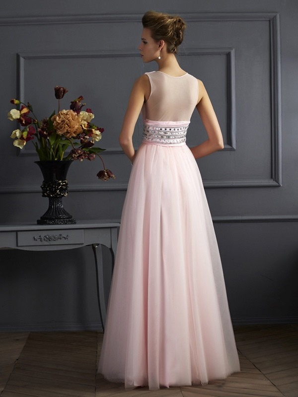 Stylish Ball Gown V-neck Sleeveless Long Net Dress