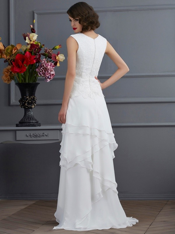 Fashion Sheath Bateau Sleeveless Lace High Low Chiffon Mother of the Bride Dress