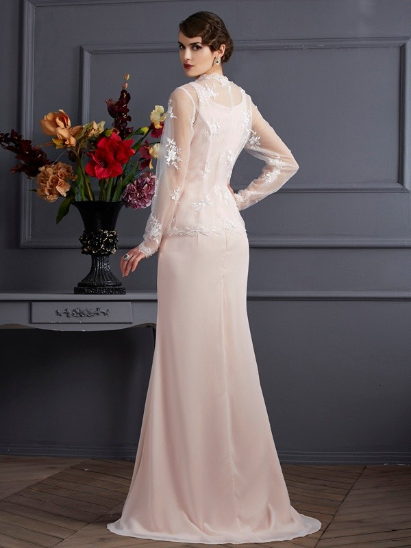 Fashion Sheath Square Sleeveless Long Chiffon Mother of the Bride Dress