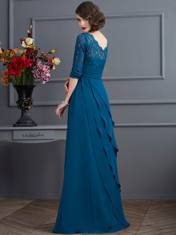 Fashion A-Line V-neck 3/4 Sleeves Long Chiffon Mother of the Bride Dress