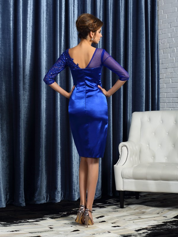Fashion Sheath 3/4 Sleeves Short Elastic Woven Satin Mother of the Bride Dress