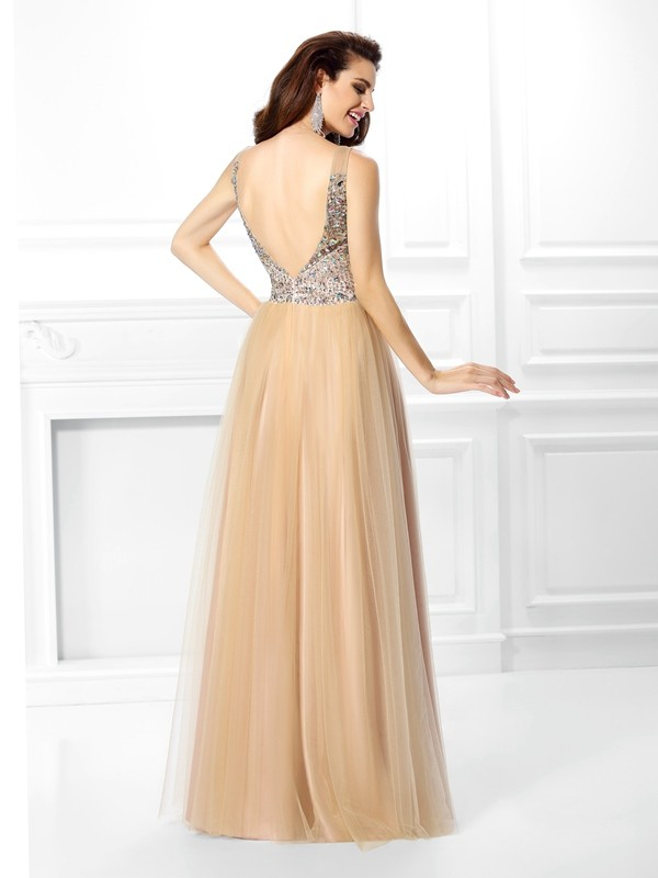 Fashion Ball Gown V-neck Sleeveless Long Satin Quinceanera Dress