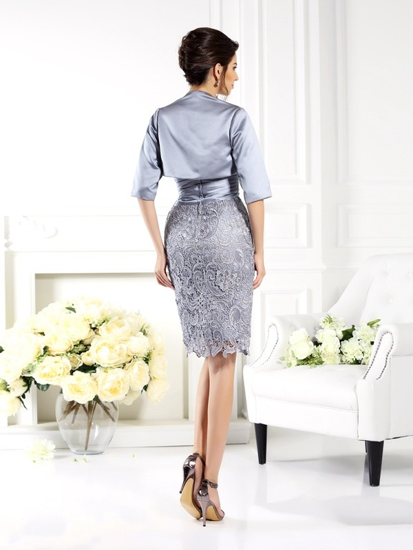 Fashion Sheath Sweetheart Lace Sleeveless Short Satin Mother of the Bride Dress
