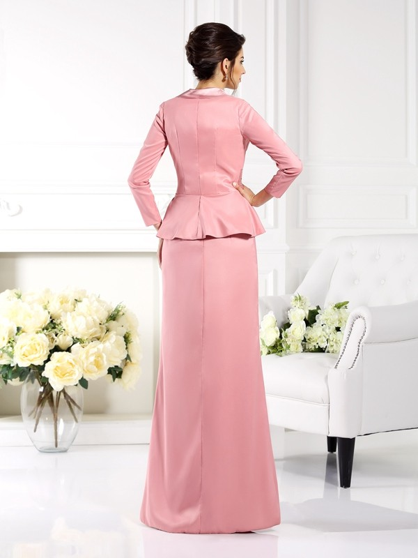 Fashion Sheath Square Sleeveless Long Elastic Woven Satin Mother of the Bride Dress