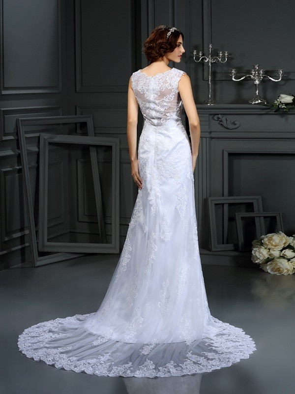 Fashion Sheath High Neck Lace Sleeveless Long Lace Wedding Dress