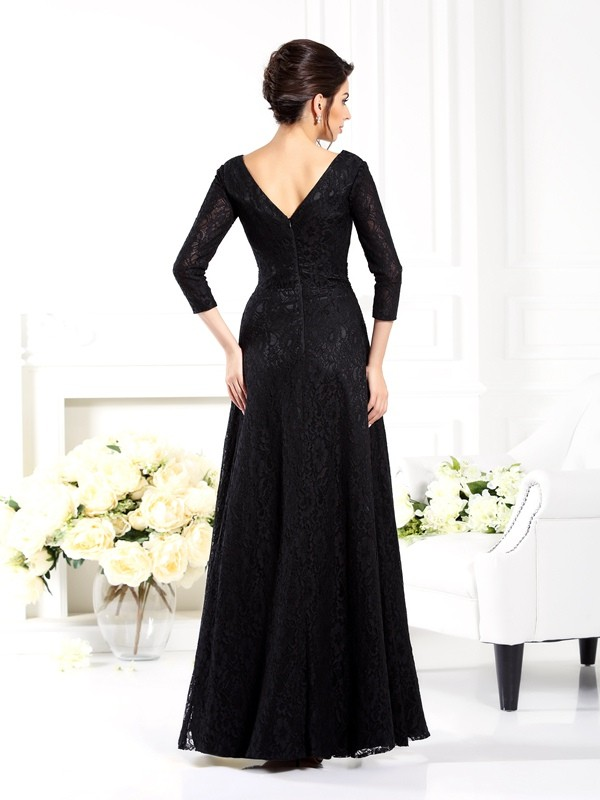 Exquisite A-Line V-neck 3/4 Sleeves Long Satin Mother of the Bride Dress