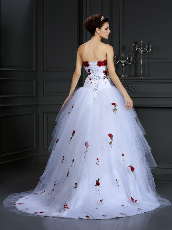 Exquisite Ball Gown Strapless Sleeveless Long Satin Wedding Dress
