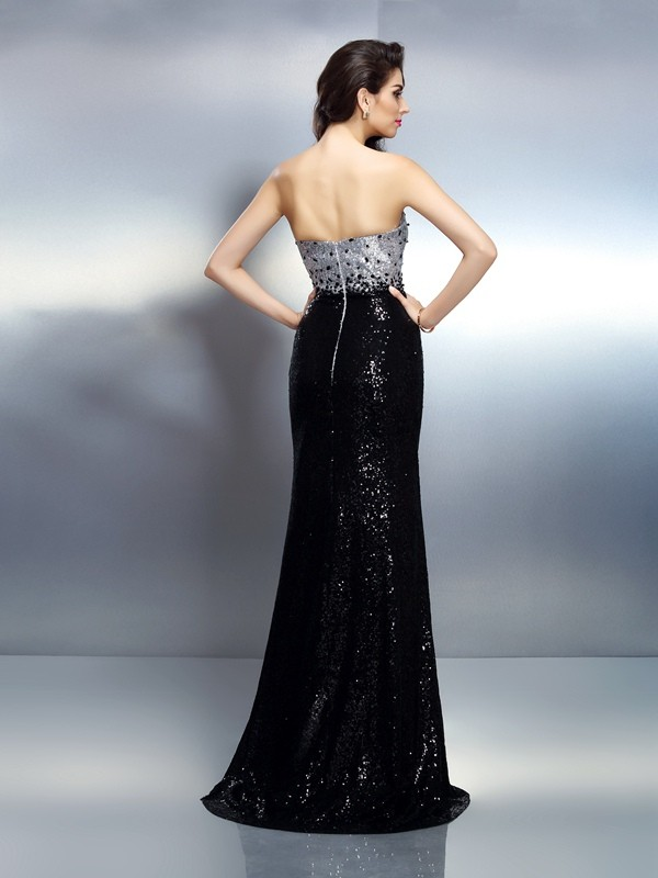 Exquisite Mermaid Strapless Sequin Sleeveless Long Sequins Dress