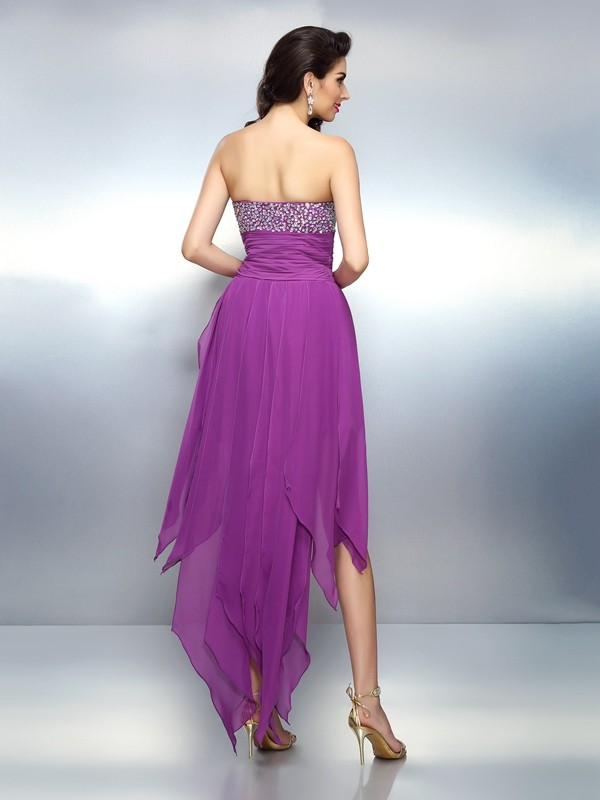 Exquisite A-Line Strapless Sleeveless High Low Chiffon Cocktail Dress