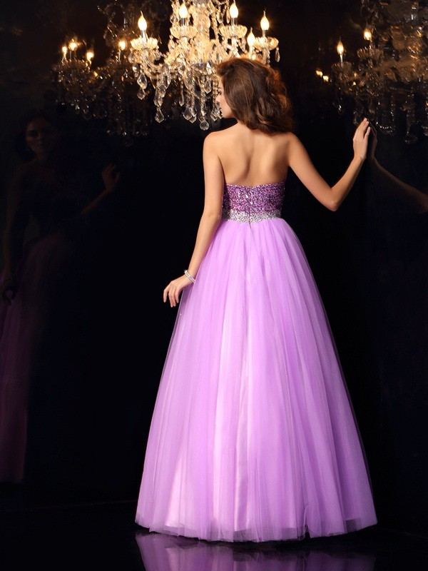 Exquisite Ball Gown Sweetheart Sequin Sleeveless Long Elastic Woven Satin Quinceanera Dress