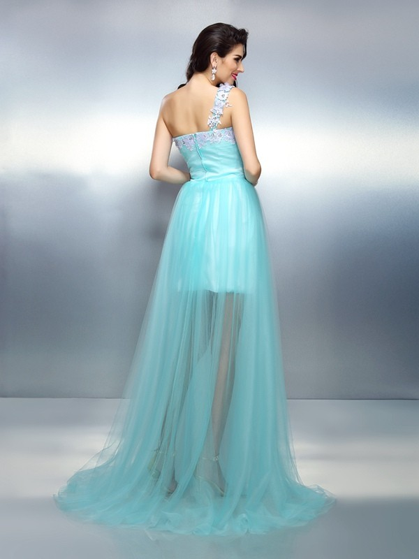 Exquisite Sheath One-Shoulder Sleeveless Long Elastic Woven Satin Dress