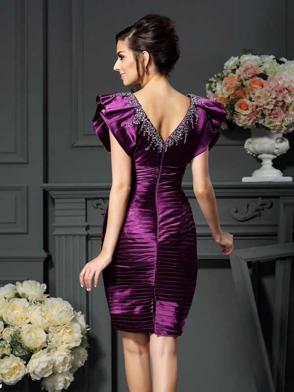 Exquisite Sheath V-neck Sleeveless Short Elastic Woven Satin Mother of the Bride Dress