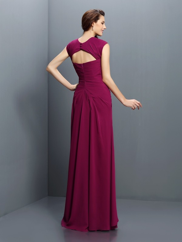 Charming A-Line Straps Sleeveless Long Chiffon Bridesmaid Dress
