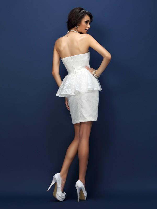 Charming Sheath Sweetheart Lace Sleeveless Short Satin Bridesmaid Dress