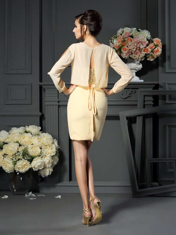 Classical Sheath Scoop Long Sleeves Short Chiffon Mother of the Bride Dress