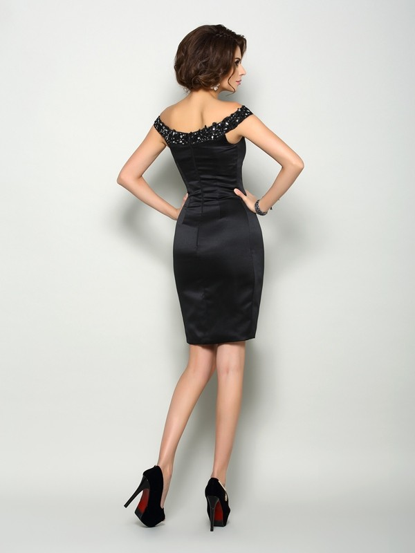 Classical Sheath Off-the-Shoulder Sleeveless Short Satin Mother of the Bride Dress