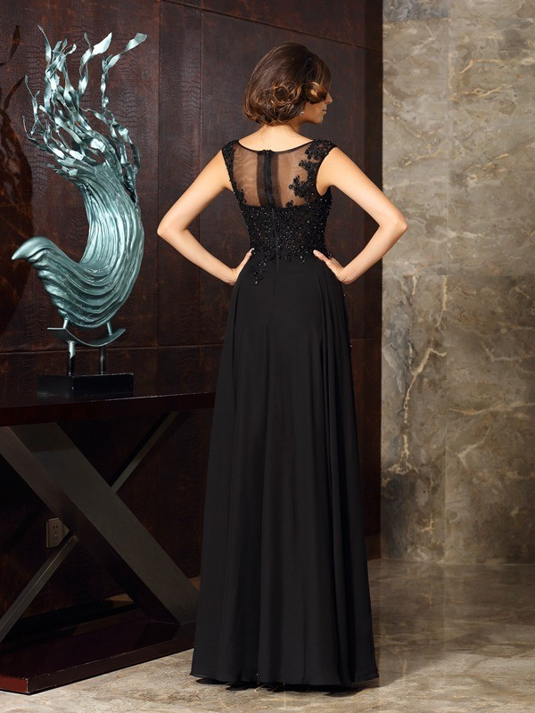 Classical A-Line Scoop Sleeveless Long Chiffon Mother of the Bride Dress