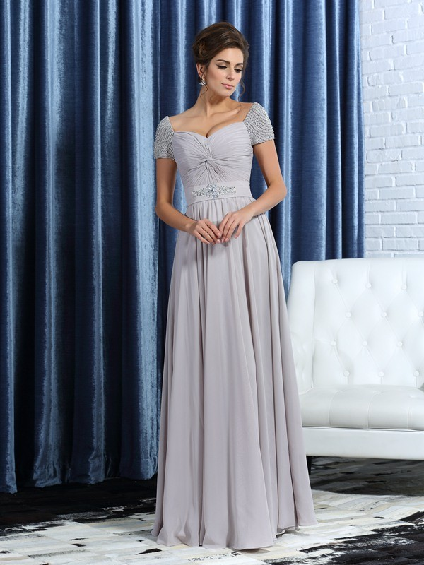 Classical A-Line Sweetheart Short Sleeves Long Chiffon Mother of the Bride Dress