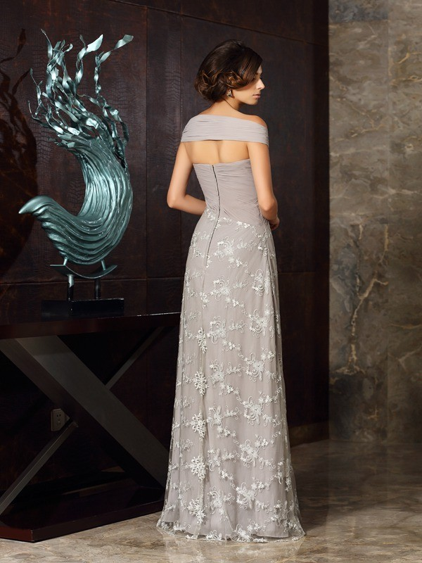 Classical A-Line Off-the-Shoulder Sleeveless Long Chiffon Mother of the Bride Dress