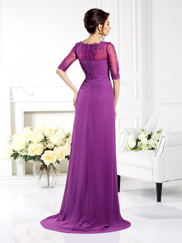 Classical Sheath Scoop 1/2 Sleeves Long Chiffon Mother of the Bride Dress