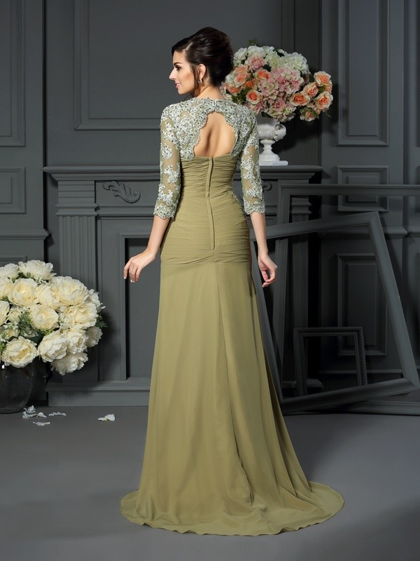 Fancy A-Line Sweetheart 1/2 Sleeves Long Chiffon Mother of the Bride Dress