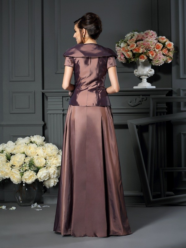 Fancy A-Line V-neck Short Sleeves Long Taffeta Mother of the Bride Dress