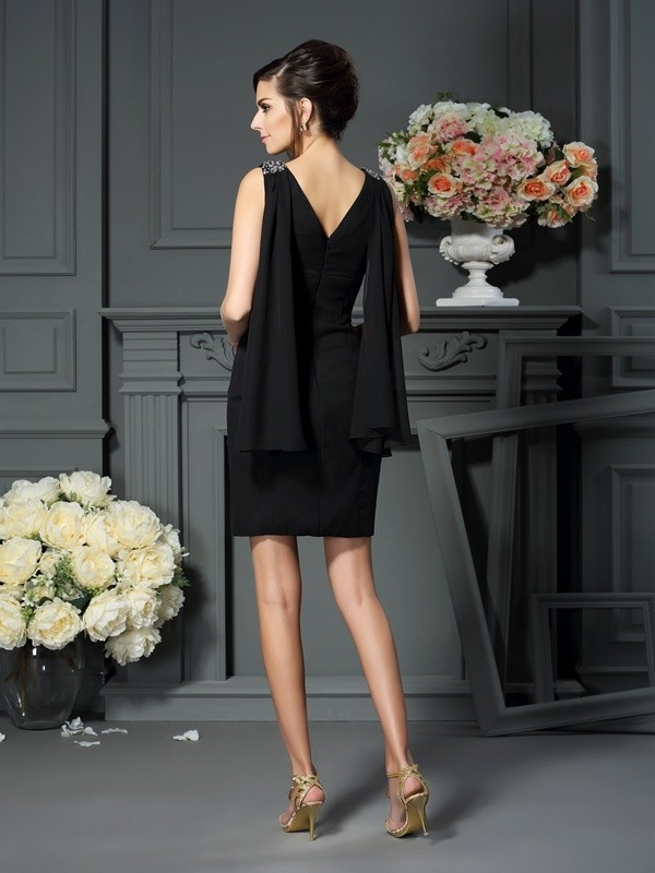Fancy Sheath Scoop Sleeveless Short Chiffon Mother of the Bride Dress