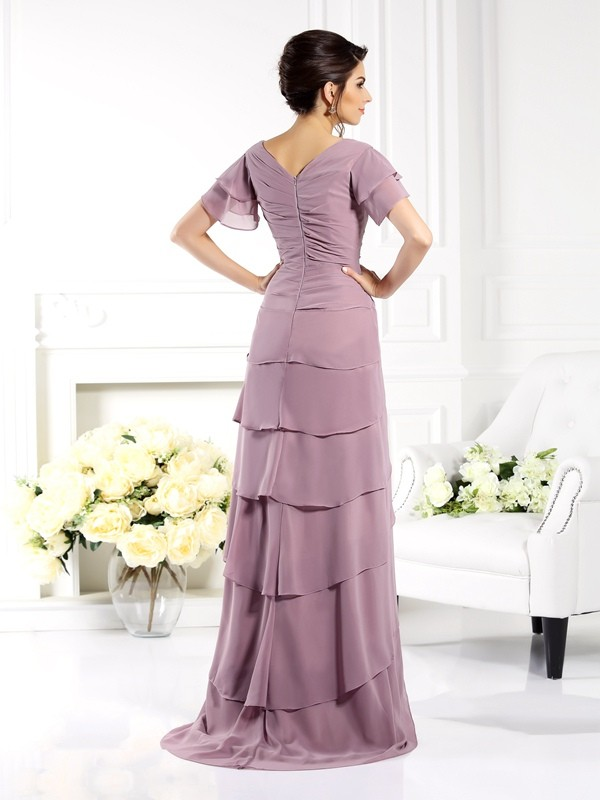 Fancy Sheath V-neck Short Sleeves Long Chiffon Mother of the Bride Dress