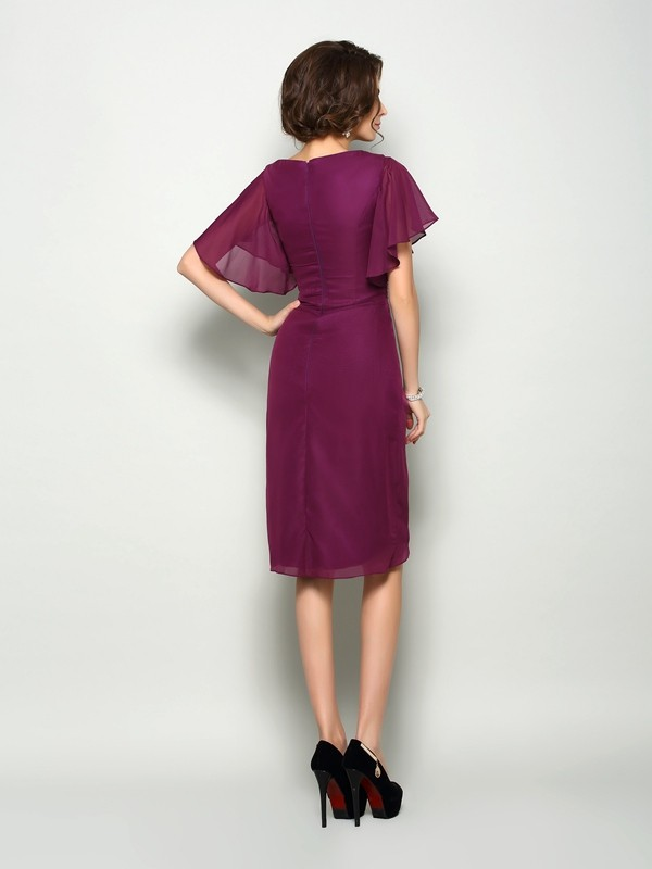 Fancy A-Line Square Short Sleeves Short Chiffon Mother of the Bride Dress