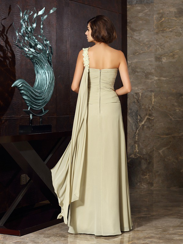 Fancy A-Line One-Shoulder Sleeveless Long Chiffon Mother of the Bride Dress