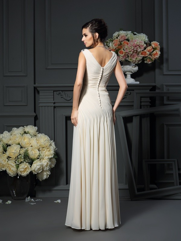 Fancy Sheath V-neck Sleeveless Long Chiffon Mother of the Bride Dress