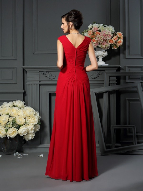 Fancy A-Line V-neck Sleeveless Long Chiffon Mother of the Bride Dress