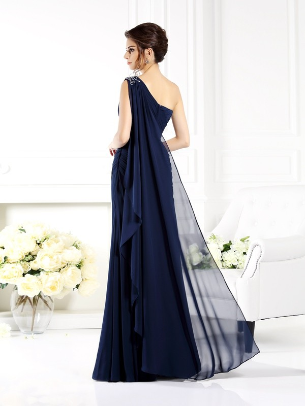 Fancy Sheath One-Shoulder Sleeveless Long Chiffon Mother of the Bride Dress