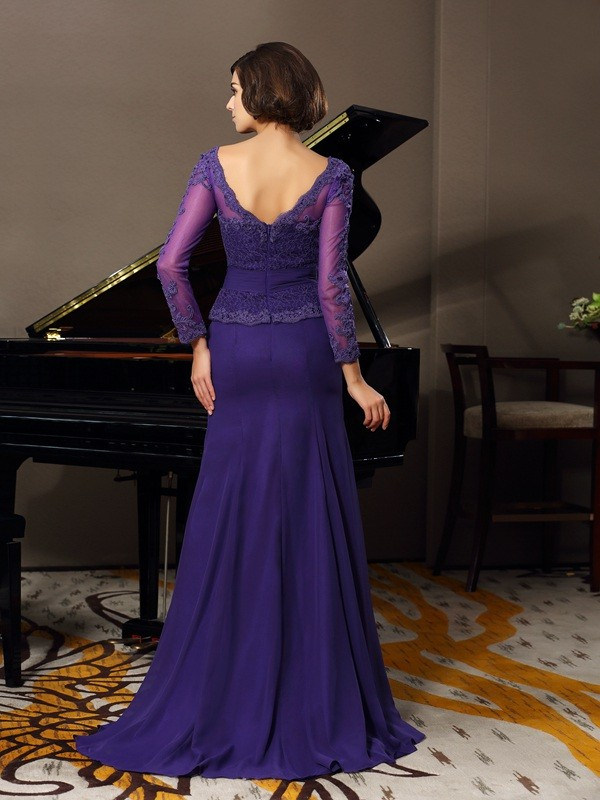 Fancy A-Line Scoop 3/4 Sleeves Long Chiffon Mother of the Bride Dress
