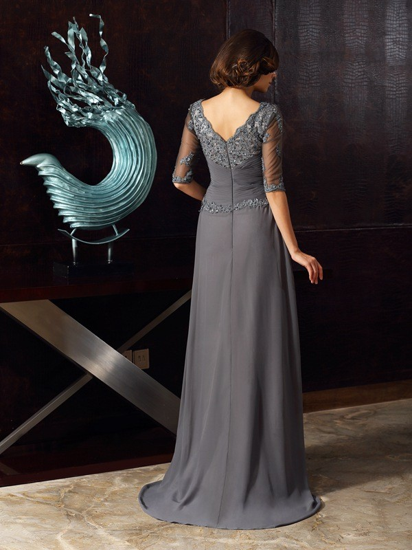Fancy A-Line Scoop 1/2 Sleeves Long Chiffon Mother of the Bride Dress