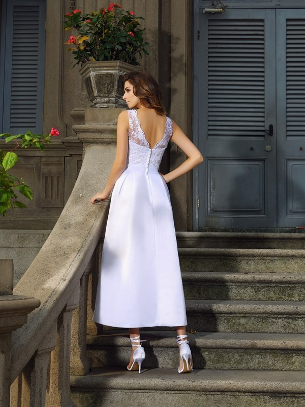 Gorgeous A-Line Bateau Sleeveless Long Satin Wedding Dress