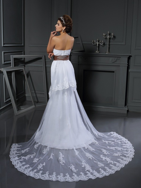 Gorgeous Sheath Sweetheart Sleeveless Long Net Wedding Dress