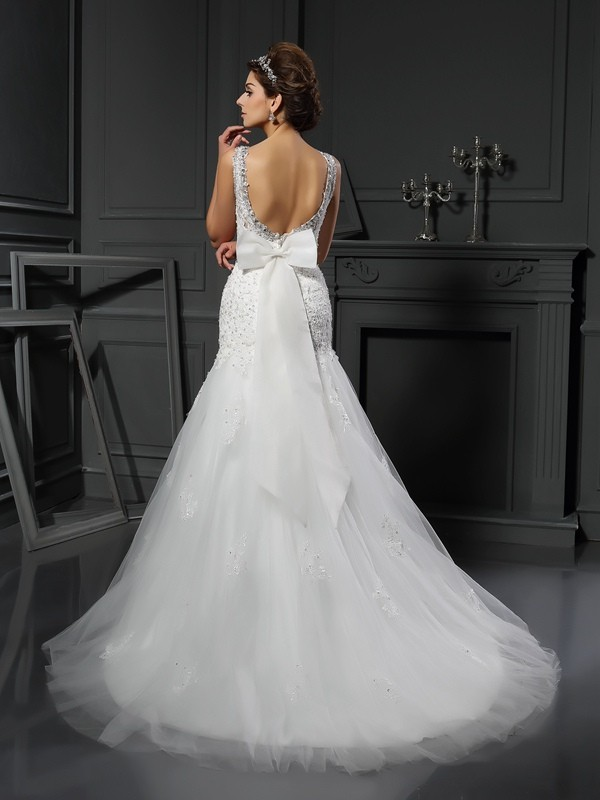 Gorgeous Sheath Scoop Sleeveless Long Net Wedding Dress