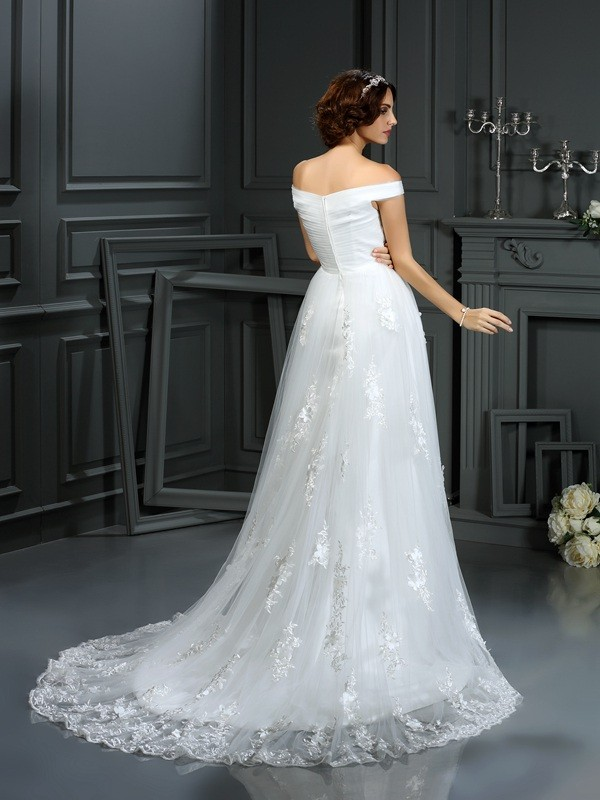 Gorgeous A-Line Off-the-Shoulder Sleeveless Long Net Wedding Dress
