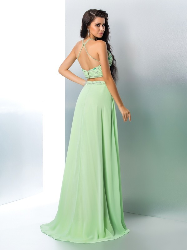 Nice A-Line Halter Sleeveless Long Chiffon Two Piece Dress