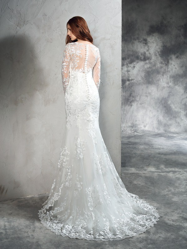 Nice Sheath Sheer Neck Lace Long Sleeves Long Net Wedding Dress