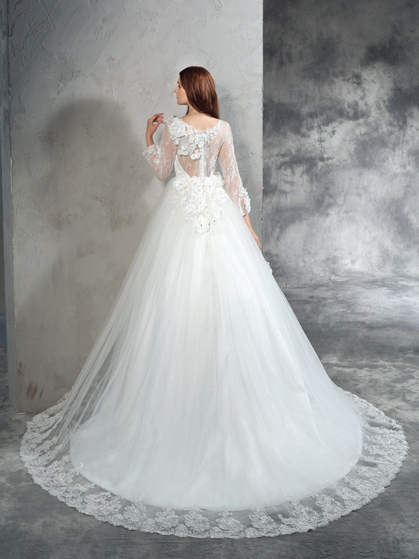 Nice Ball Gown Sheer Neck Long Sleeves Long Net Wedding Dress