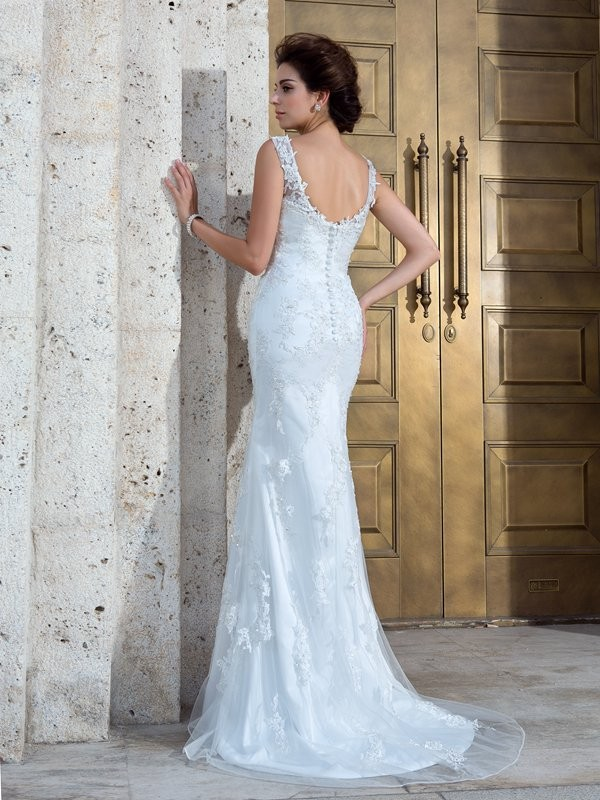 Nice Mermaid V-neck Sleeveless Long Net Wedding Dress