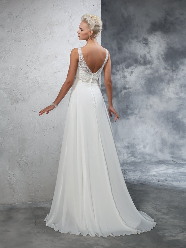 Nice A-Line V-neck Sleeveless Long Chiffon Wedding Dress