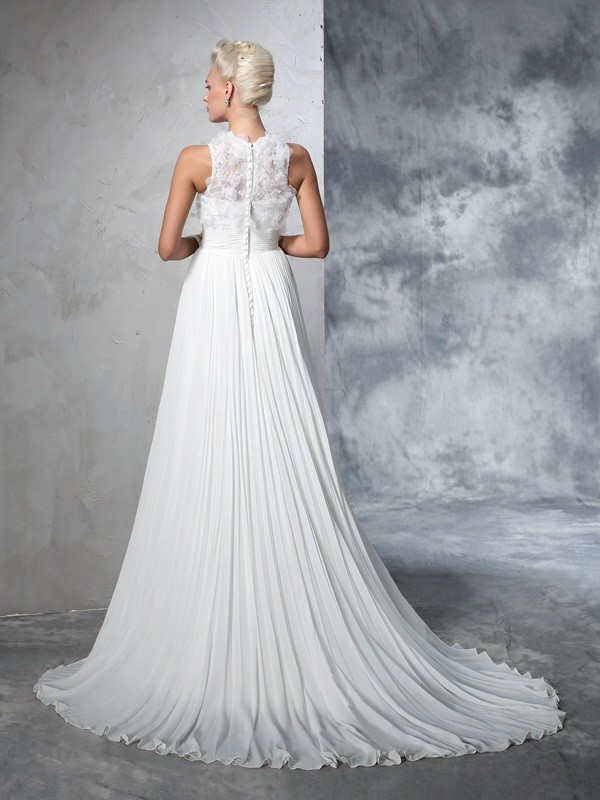 Nice A-Line High Neck Sleeveless Long Chiffon Wedding Dress
