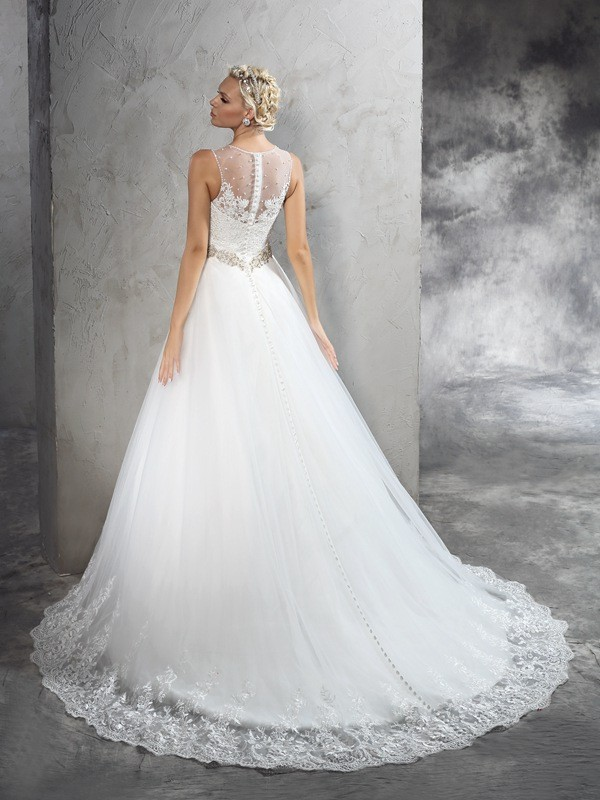 Nice A-Line Sheer Neck Sleeveless Long Net Wedding Dress